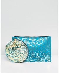 Pochette en cuir imprimée bleu clair ASOS DESIGN
