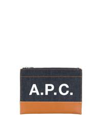 Pochette en cuir imprimée bleu marine A.P.C.