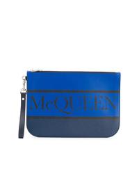Pochette en cuir imprimée bleu marine Alexander McQueen