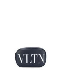 Pochette en cuir imprimée bleu marine Valentino