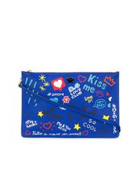 Pochette en cuir imprimée bleue Dolce & Gabbana
