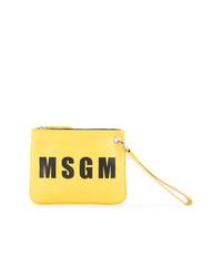 Pochette en cuir imprimée jaune MSGM