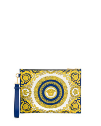 Pochette en cuir imprimée jaune Versace