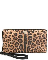 Pochette en cuir imprimée léopard beige Dolce & Gabbana