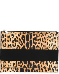 Pochette en cuir imprimée léopard beige Givenchy