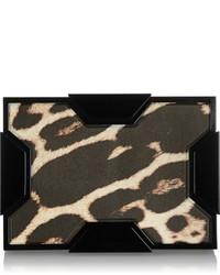 Pochette en cuir imprimée léopard beige