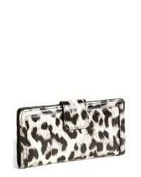 Pochette en cuir imprimée léopard blanche et noire
