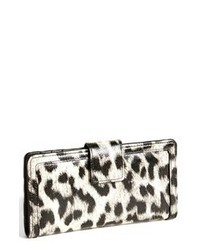 Pochette en cuir imprimée léopard blanche