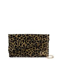 Pochette en cuir imprimée léopard dorée Dolce & Gabbana