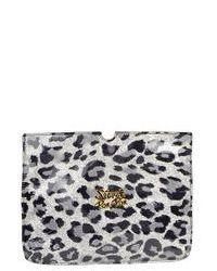 Pochette en cuir imprimée léopard grise