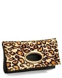 Pochette en cuir imprimée léopard marron clair