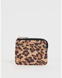 Pochette en cuir imprimée léopard marron clair ASOS DESIGN