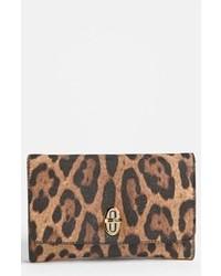 Pochette en cuir imprimée léopard marron