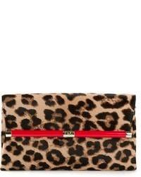 Pochette en cuir imprimée léopard marron Diane von Furstenberg