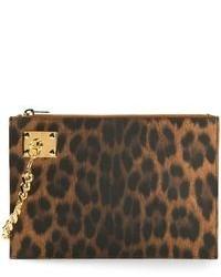 Pochette en cuir imprimée léopard marron Sophie Hulme