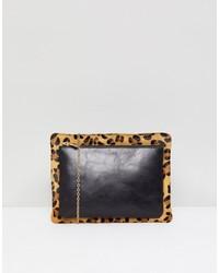 Pochette en cuir imprimée léopard noire Urbancode
