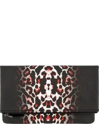 Pochette en cuir imprimée léopard rouge et noir MCQ