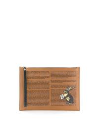 Pochette en cuir imprimée marron clair Etro