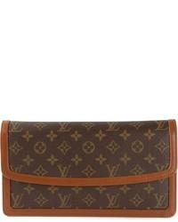 Pochette en cuir imprimée marron foncé Louis Vuitton
