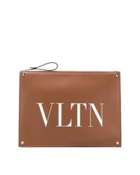 Pochette en cuir imprimée marron Valentino
