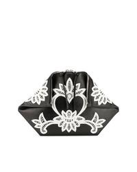 Pochette en cuir imprimée noire et blanche Alexander McQueen