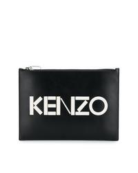 Pochette en cuir imprimée noire et blanche Kenzo
