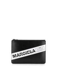 Pochette en cuir imprimée noire et blanche Maison Margiela