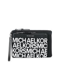 Pochette en cuir imprimée noire et blanche MICHAEL Michael Kors