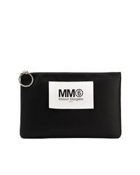 Pochette en cuir imprimée noire et blanche MM6 MAISON MARGIELA
