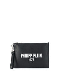 Pochette en cuir imprimée noire et blanche Philipp Plein