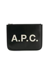 Pochette en cuir imprimée noire A.P.C.