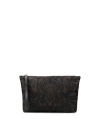Pochette en cuir imprimée noire Alexander McQueen