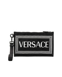Pochette en cuir imprimée noire Versace