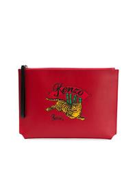 Pochette en cuir imprimée rouge Kenzo