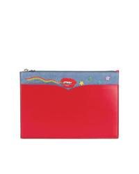 Pochette en cuir imprimée rouge Olympia Le-Tan