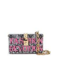 Pochette en cuir imprimée serpent argentée Dolce & Gabbana