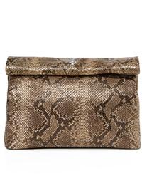 Pochette en cuir imprimée serpent dorée