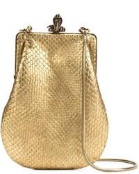 Pochette en cuir imprimée serpent dorée Saint Laurent