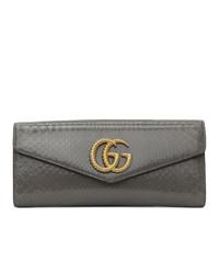 Pochette en cuir imprimée serpent gris foncé Gucci