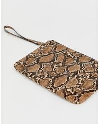 Pochette en cuir imprimée serpent marron ASOS DESIGN