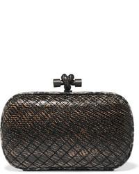 Pochette en cuir imprimée serpent noire Bottega Veneta