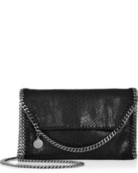 Pochette en cuir imprimée serpent noire Stella McCartney