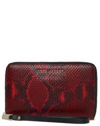 Pochette en cuir imprimée serpent rouge