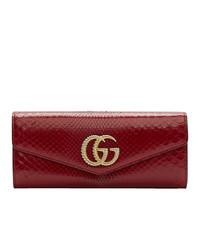 Pochette en cuir imprimée serpent rouge Gucci