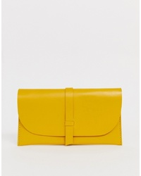 Pochette en cuir jaune ASOS DESIGN