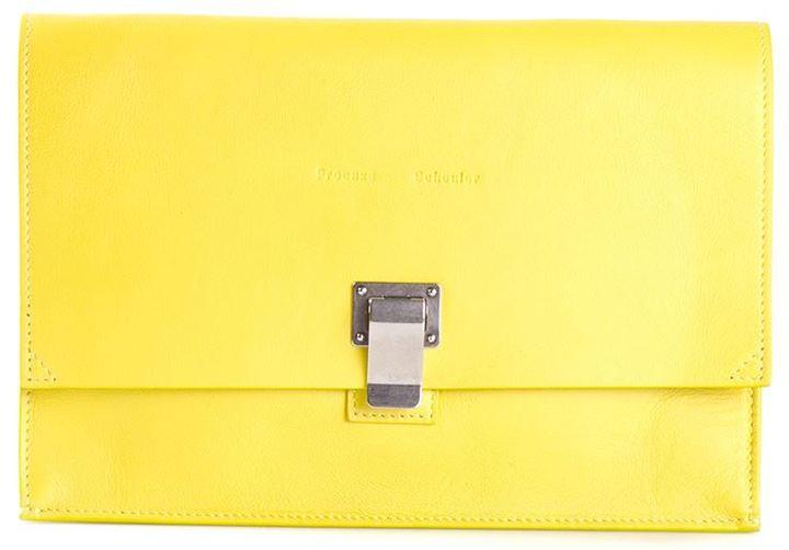 Pochette en cuir jaune Proenza Schouler