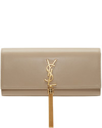 Pochette en cuir marron clair Saint Laurent