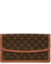 Pochette en cuir marron foncé Louis Vuitton
