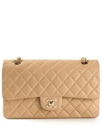 Pochette en cuir matelassée beige Chanel