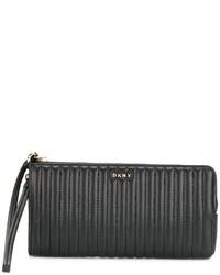 Pochette en cuir matelassée noire DKNY